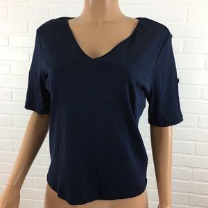 Lauren Ralph Lauren Womens Blouse Size PL Blue